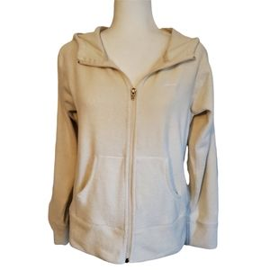 PATAGONIA ZIP-UP HOODED FLEECE in EGGSHELL WITH POCKETS ~ MEDIUM
